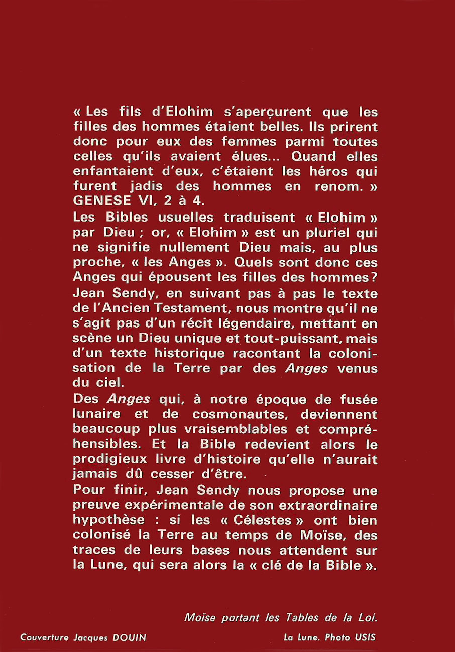 La Lune Cle de la Bible (back) by Jean Sendy (1968)